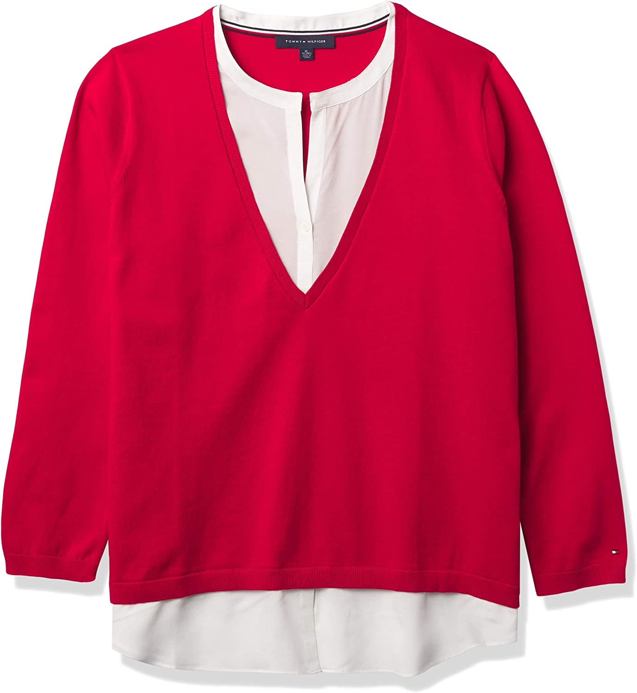 Tommy Hilfiger Women's 毎日激安特売で 営業中です 直営ストア Long Casual Sleeve Shirt