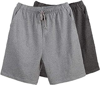 Bintangor Men's Pajama Shorts 100% Cotton Sleep Knit Elastic Waistband Lounge Wear pj Shorts 2 Pack