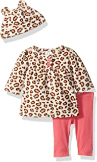Baby Girls' 3-Piece Top, Pant and Cap Set