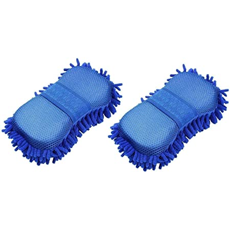 SAUM Microfiber Dry and Wet Cleaning Sponge for Car, Office (Blue) | Pack of 2