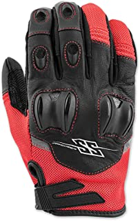 Speed and Strength Men's Power and the Glory Red Leather/Mesh Gloves, L