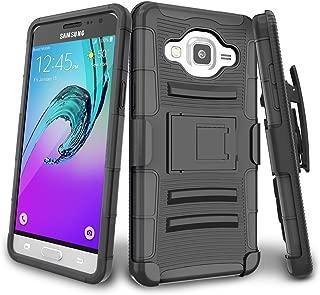 J3 Case,Galaxy Sol Case,J3 V Case,TILL(TM) Shock Absorbing Rugged Holster Locking Belt Swivel Clip Defender Heavy Duty Kickstand Case Cover for Samsung Galaxy Amp Prime/Express Prime - Black