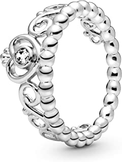 Jewelry - Princess Tiara Crown Ring for Women in Sterling Silver with Clear Cubic Zirconia