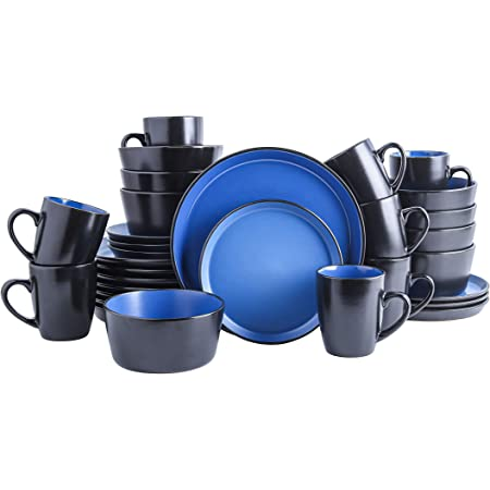 Stone Lain 32 Piece Glazed Stoneware Dinnerware Set, Service 8, Blue and Black