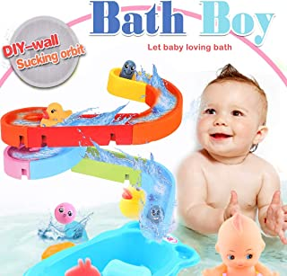 Happytime Combine Track Pathway Bath Toy 2019 DIY Free Assemble Bathroom Track Game BathtubToys for Baby (No Batteries Required)