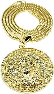 Jesus Medallion Chain Iced Round Huge Pendant Gold Finish 36