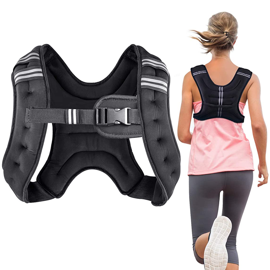 Henkelion Running Weight Vest for Men Women Kids [6/8 /12 lbs] Weights Included, Body Weight Vests for Training Workout, Jogging, Cardio, Walking, Elite Adjustable Weighted Vest Workout Equipment