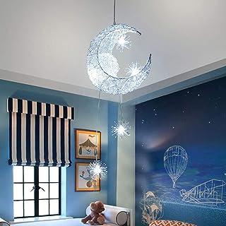 SmartHitech LED Lámpara de Techo - Lámpara Colgante Luna Moderna - Luz de Hadas, Luces de Hierro Forjado Ajustables - Decoración de Dormitorio de Niña, Blanco Frio
