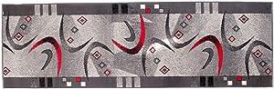 Alfombra De Pasillo Moderna Colección Fiesta - Color Gris De Diseño Ornado Bordura - Mejor Calidad - Varias Dimensiones S-XXXL 70 x 350 cm