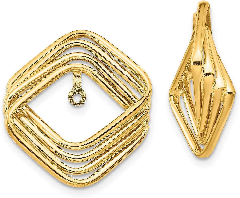 14k Yellow Gold Polished Fancy Earring Jackets 20x22 mm