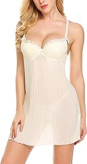 wearella Sexy Chiffon Lingerie Womens Push Up Babydoll Floral Ruffled  Nightgown e2c553ddb