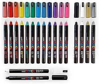 Posca PC-1MR 18 Conjunto de Lápiz - En Caja de Plástico de Edición Limitada - Extra Blanco y Negro