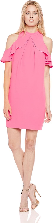 Trina Turk Womens Amado Cold Shoulder Ruffle Dress Dress
