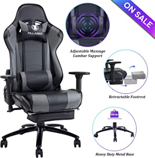 Blue Whale Massage Gaming Chair - Big and Tall 350lbs High Back Racing Computer Desk Office Chair Swivel Ergonomic Executive Leather Chair with Footrest and Adjustable Armrests (8280Gray)
