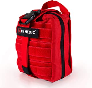 My Medic MyFak First Aid Kit - Water Resistant Bag, Bandages, Burn Aids, CPR Shield, Survival First Aid Kit, Airway, Tourniquet, Stainless Steel Instruments - Advanced - Red