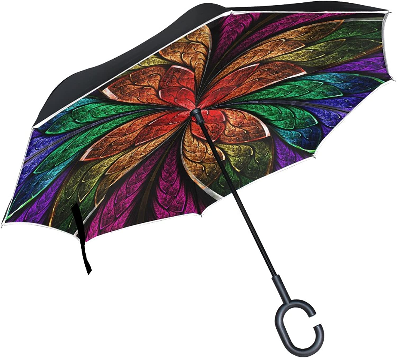MASSIKOA blueee Green And Red Fractal Flower Ingreened Double Layer Windproof Straight Umbrellas Inside-Out Folding Umbrella with C-Shaped Handle for Car Use