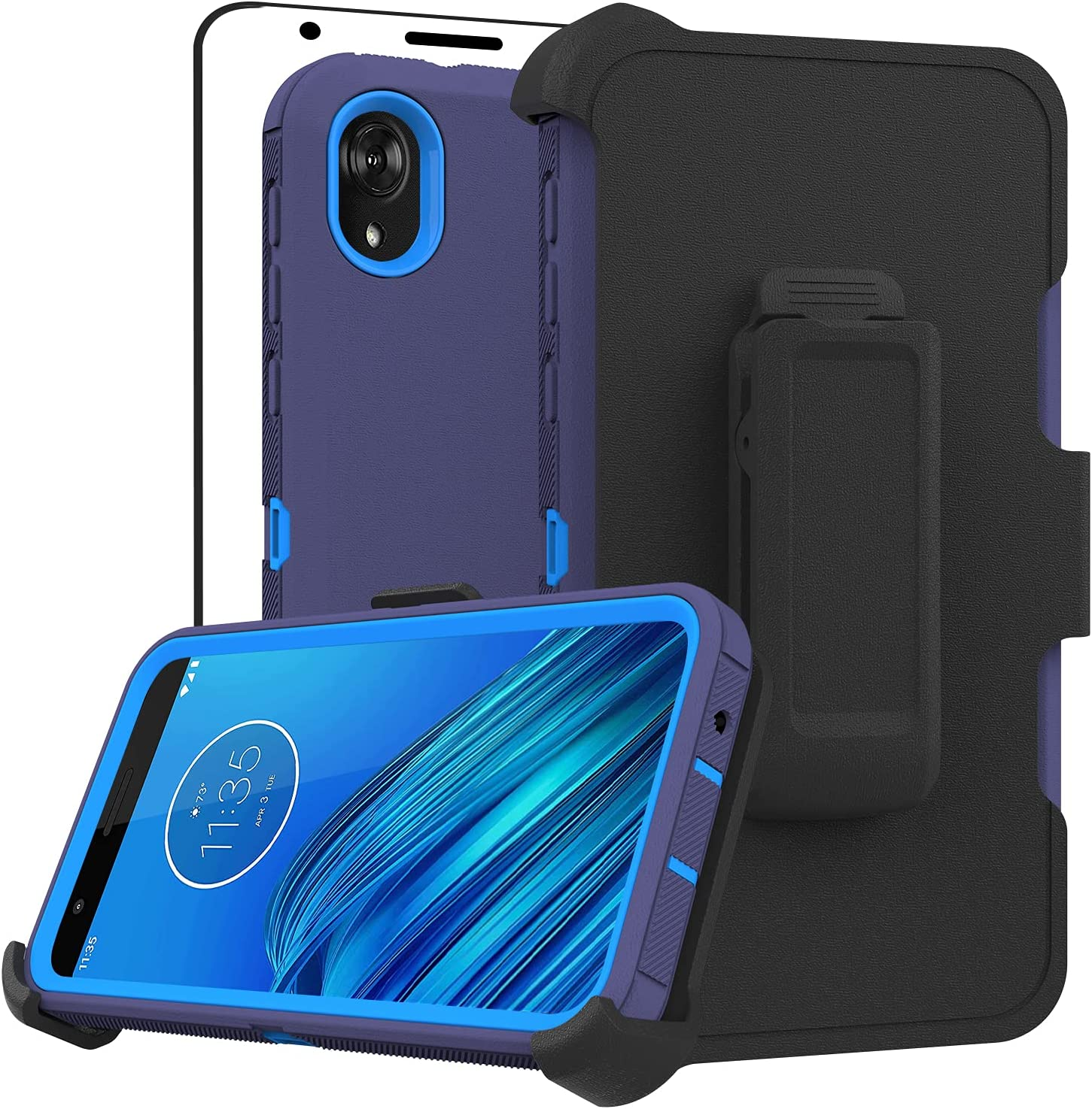 Stroson Compatible with Moto E6 Case, with HD Screen Protector Kickstand Belt Clip Phone Case Full Body Heavy Duty Triple Layer Shockproof Defender Cover for Motorola Moto E6 (Navy)