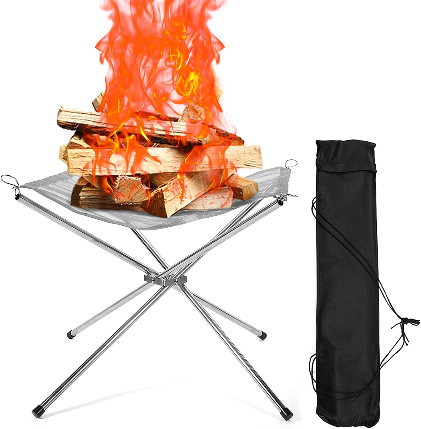 Portable Long-awaited Folding Fire Pit for Outdoor Wood Beach Camping Burning In stock