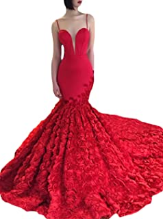 Womens Spaghetti Strap Prom Dresses Long Mermaid 2019 Formal Evening Ball Gowns with Rose Pattern Train