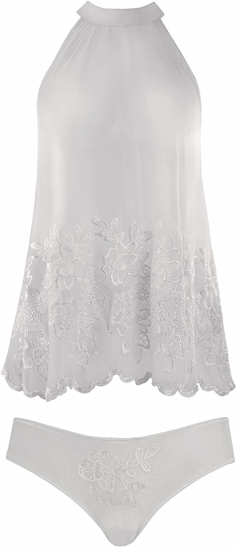Fantasy Lingerie Women's Sheer White Vintage Style Top Panty Set