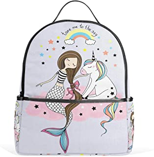 Vdsrup Cute Unicorn Mermaid Rainbow Star Backpack Funny Animal Cartoon School Bookbags Daypack Bags Water Resistant Travel Computer Notebooks Laptop Bookbag for Men Women Kids Boys Girls