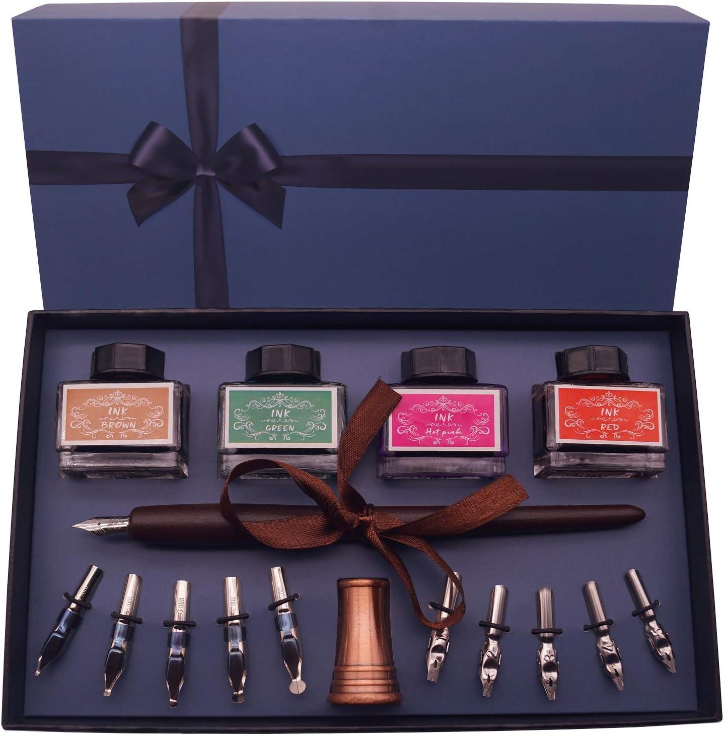 Set de escritura caligráfica c/bolígrafo madera, tinta pluma