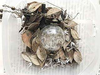 Collana con ciondolo in vetro riempito di soffioni, semi di tarassaco, dente di leone