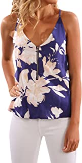 WLLW Women's Spaghetti Strap Front Zipper Floral Print Shirt Tops Tanks Camis