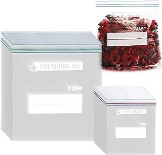 COM-FOUR® 60 pièces. Set sacs de congélation 1L, 3L pour la fermeture, sacs de conservation refermables pour le stockage d...