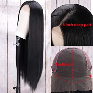 AISI HAIR 13x6 Long Straight Black Lace Front Wig with Free Part Synthetic Heat Resistant Wigs for Black Women Long Middle Part Wig