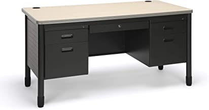 OFM Core Collection Mesa Series 5-Drawer Double Pedestal Teacher's Desk, in Maple