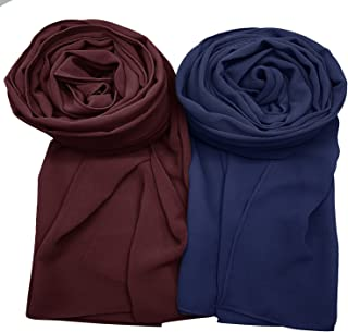 AxeSickle 2 Pcs Women Chiffon Scarves Shawl Long Scarf Wrap Scarves Soft Scarves Travel Sunscreen Wrap Scarf.