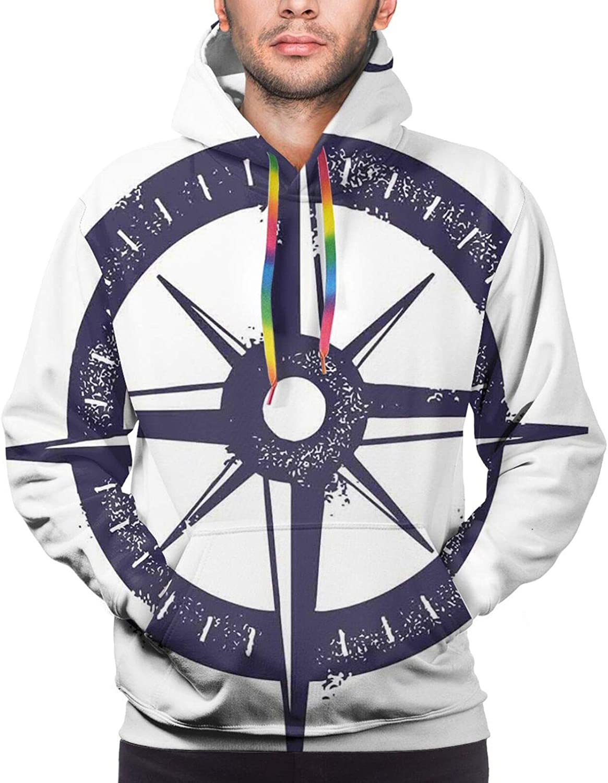 Men's Hoodies Sweatshirts,Sailing Boat Reflection Cloudy Sky Sandy Seaside Shoreline Hobby Water Sports