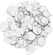 Fanrel 100 Pieces Metal Rimmed Key Tags Round Paper Tags with Split Rings (40mm, White)