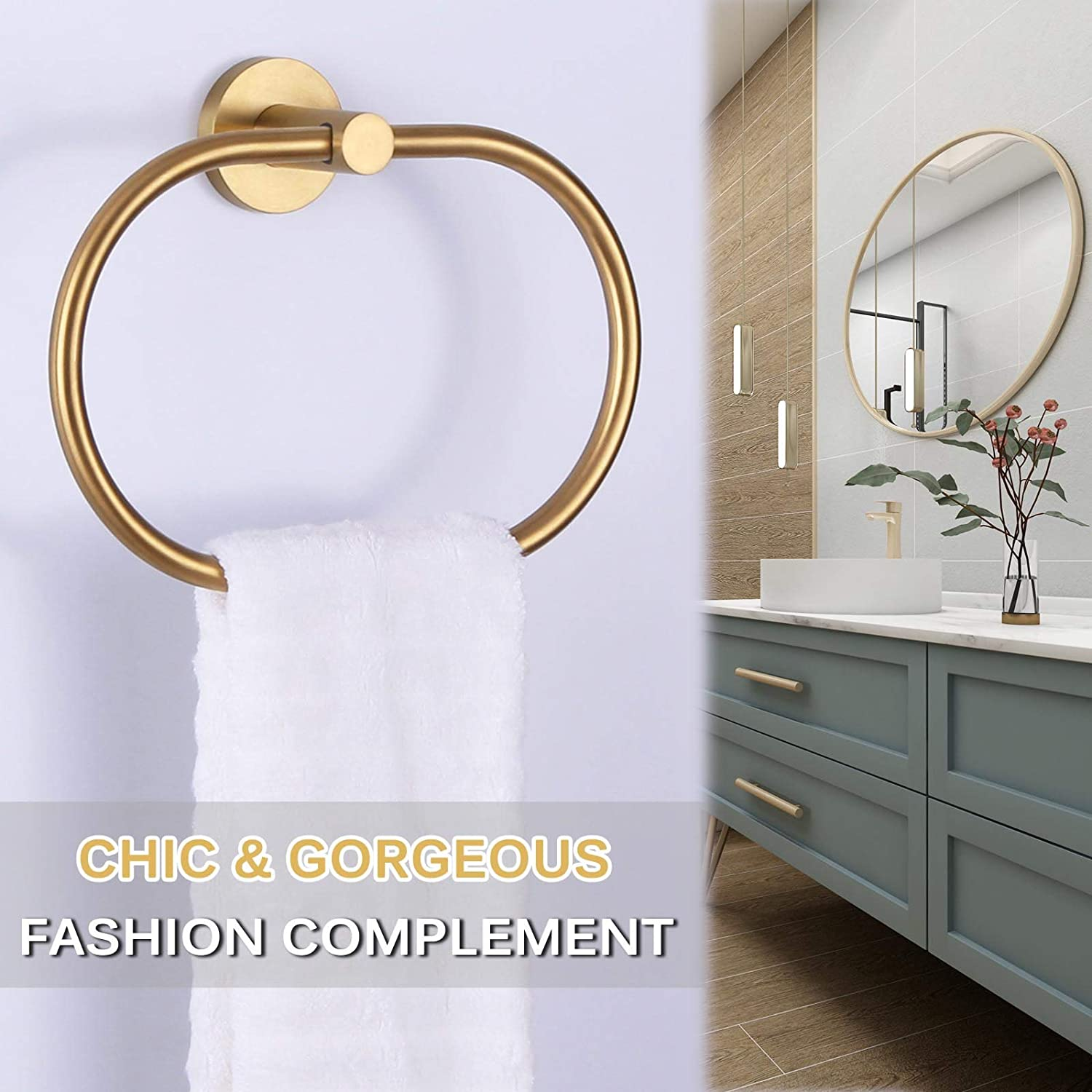 9.5-Inch Towel Ring Brushed Gold Bathroom Towel Holder for Wall Angle Simple SUS304 Stainless Steel Movable Hand Towel Rack