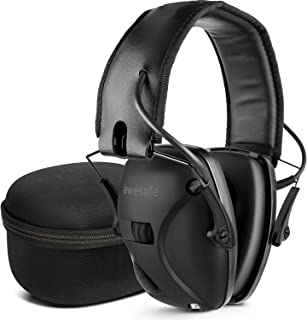 Electronic Shooting Ear Protection Earmuffs, Noise Reduction Sound Amplification Electronic Safety Ear Muffs [Comes with Hard Travel Storage Carrying Bag]