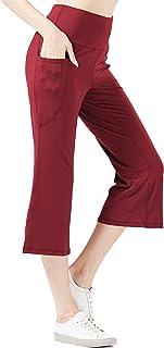 KISSOURBABY Women's High Waist Bootcut Capri Leggings Yoga Pants with 2 Pockets