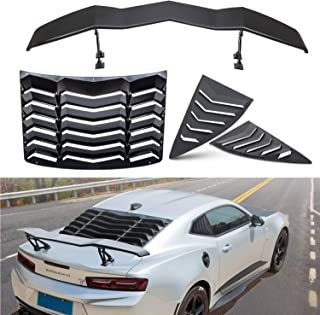 Opall for Chevy Chevrolet Camaro 2010 2011 2012 2013 2014 2015 ABS Rear and Side Window Scoop Louvers Sun Shade Cover /& Trunk Spoiler Rear Spoiler Wing Tail Lid in Matte Black