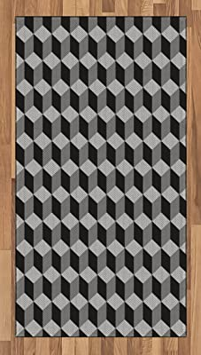 Ambesonne Black and White Area Rug, Monochrome Cube Composition with Abstract 3D Design Optical Illusion