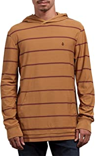 Volcom Men's Randall Knit Long Sleeve Hooded Striped Shirt, Old Gold, Medium