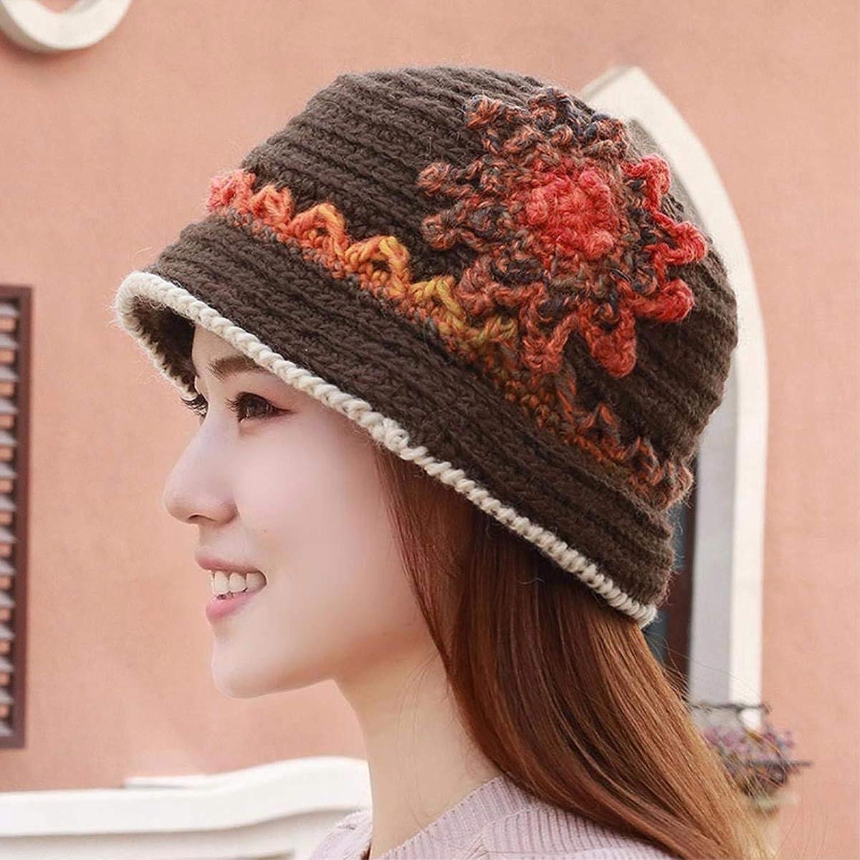 Beach Hat Hat Female Autumn Winter Knitting Knitting hat Cap Basin Cap Soft Hand Along The Fisherman's hat Elderly Mother Cap Summer Sun Hat (color   Brown)