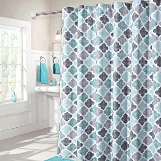 Haperlare Fabric Shower Curtain, Aqua Polyester Cotton Blend Fabric for Bathroom Showers and Bathtubs, Geometric Pattern Heavy Textured Fabric Shower Curtain for Bathroom, 72