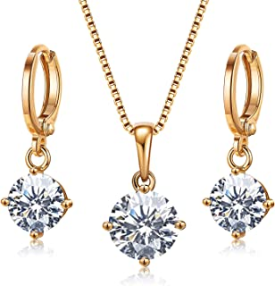 AllenCOCO Jewelry Set,14K Gold Plated Wedding Necklace and Earrings Set with CZ Cubic Zirconia Drop Dangle Pendant for Women Girls Bride Bridesmaid