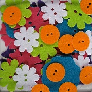 Blumenthal Lansing 48-Piece Big Bag of Felt Buttons Bright Blossoms Bright Blossoms
