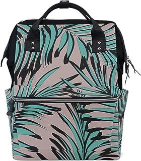 Palm Green Leaf Bolsas de pañales de gran capacidad Mamá Mochila Múltiples funciones Bolso de lactancia Bolso de mano para niños Cuidado del bebé Viajes Mujeres diarias