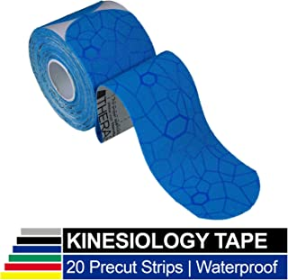 TheraBand Kinesiology Tape, Waterproof Physio Tape for Pain Relief, Muscle & Joint Support, Standard Roll with XactStretch Application Indicators, 2
