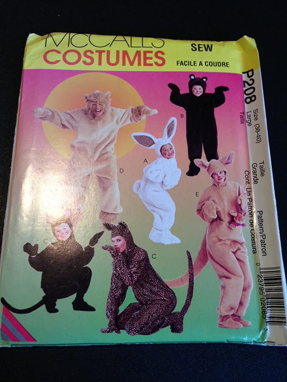 McCall's P208 or 8953 Sewing Pattern, Adults' and Kids' Animal Costumes, Kangaroo, Bunny, Bear, Cat, Lion, Size Large (38-40)
