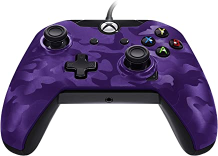 PDP Stealth Series Wired Controller for Xbox One, Xbox One X and Xbox One S 048-082-NA-CM05, Purple Camo