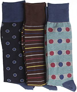 Soxmile Mens Big and Tall Fashion Crew Socks - Dots, Dot-Stripe, Stripe