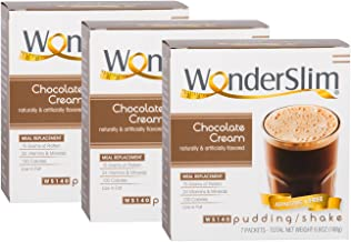 WonderSlim Low-Carb Meal Replacement Weight Loss Shake - Chocolate Cream - 15g Protein Diet Shake & Pudding Mix - 3 Box Value Pack (Save 5%)